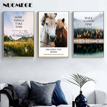 Nordic  Modern Landscape Canvas Painting Snow Mountain Posters and Prints  Horse Forest Picture for Living Room Home Decoration