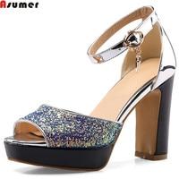 ASUMER Pink Blue Fashion Summer Ladies Prom Shoes Buckle Thick Heel Elegant Bling Women High Heels