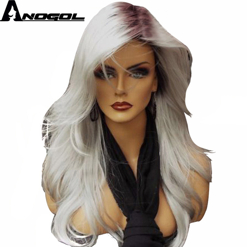 Anogol Silver Grey Ombre Dark Roots Side Part Long Natural Wave Synthetic Wig For White  ...