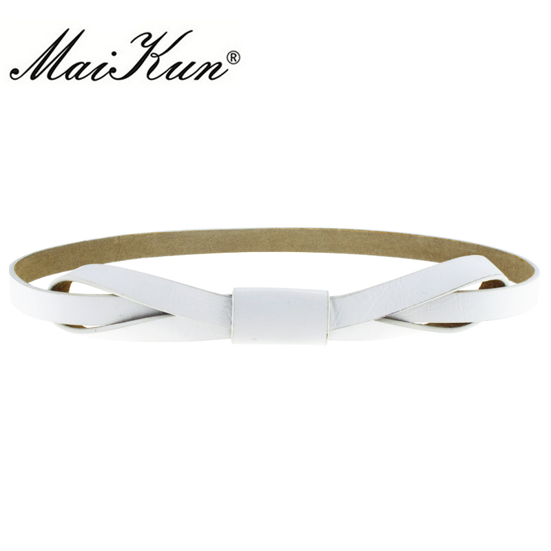 Elegant Wedding Dress Belts for Women PU Leather and Cowhide Bowknot Thin Female Belt Luxury Brand Designer Accessory for Jeans