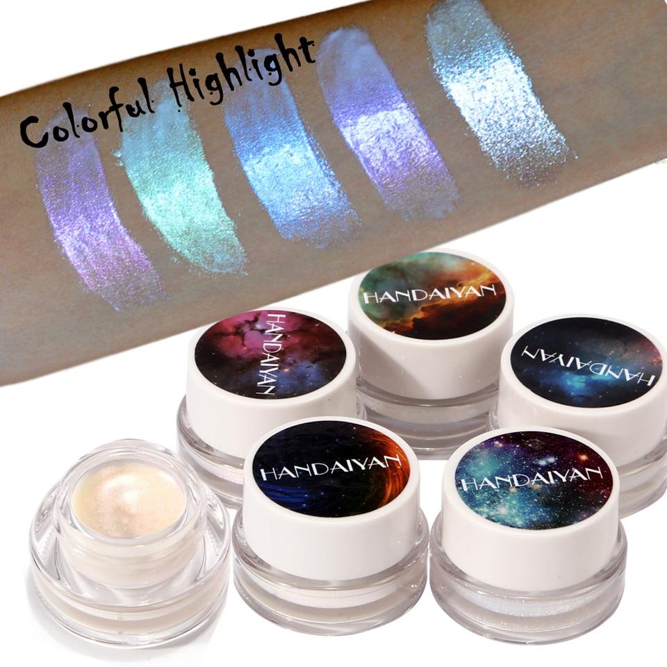 Face Highlight Makeup Powder HANDAIYAN Polarized High Gloss Cream 5 Color Aurora Rainbow High Gloss Eyeshadow Colorful Chameleon