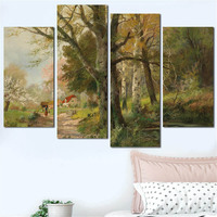 4 Pcs Combined Classic Oil Painting Poster Vintage Countryside Landscape Wall Art Picture Canvas Printing for Living Room Decor