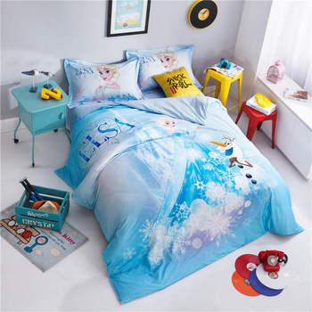Algodão egípcio conjunto de cama têxtil de casa dos desenhos animados da disney congelado princesa cama queen size 3D quarto decor meninas crianças fronhas
