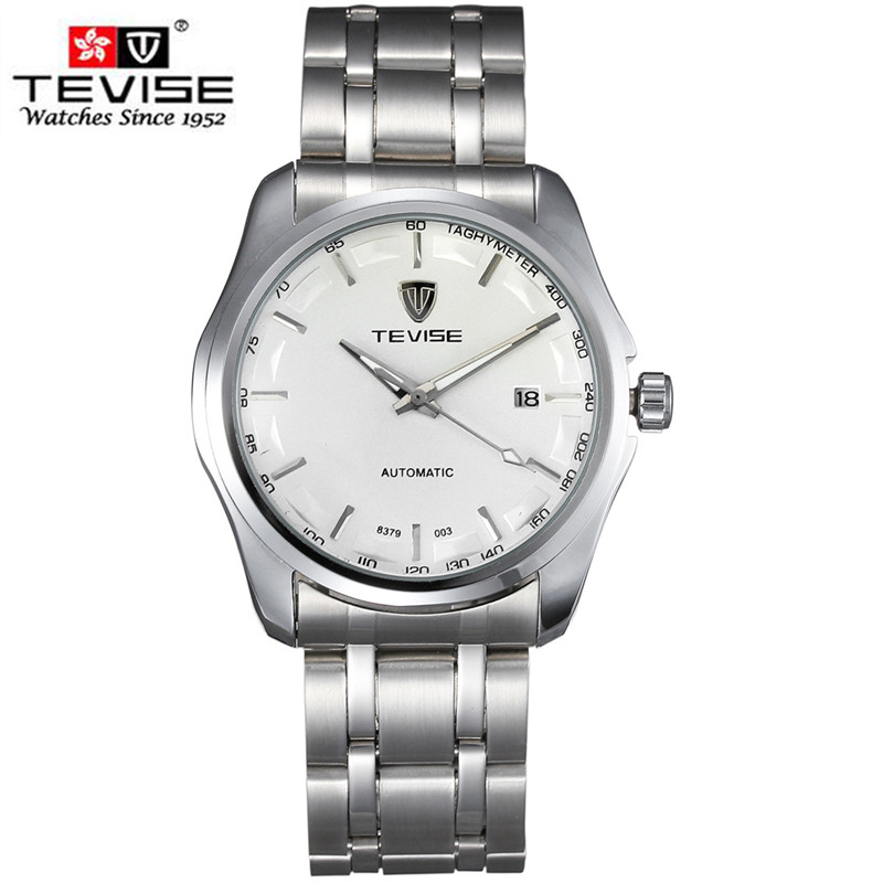 TEVISE Men Watch Luminous Full Steel Business watch Mens Fashion Casual Wristwatch Date Automatic Mechanical Watch clock relogio tevise men watch black stainless steel automatic mechanical men s watch luminous waterproof watch rotate dial mens wristwatches