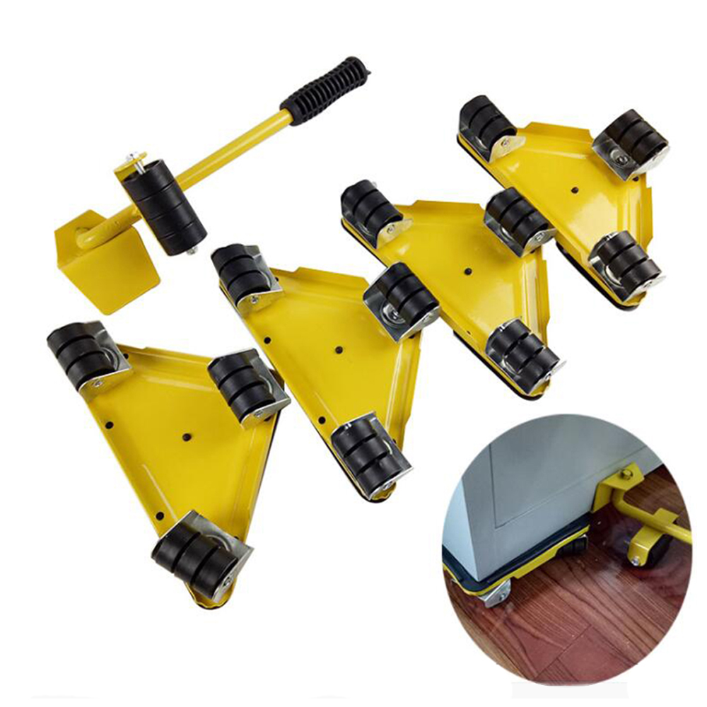 Home Portable Furniture Mover Heavy Object Lifter Triangle Iron Hand Tool Set 4 Wheeled Mover Roller&1 Wheel Bar