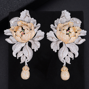 Image 5 - GODK 76mm Luxury Peony Flower Blossom Cubic Zirconia Women Statement Long Drop Earring Wedding Party Bridal Fringed Jewelry Gift
