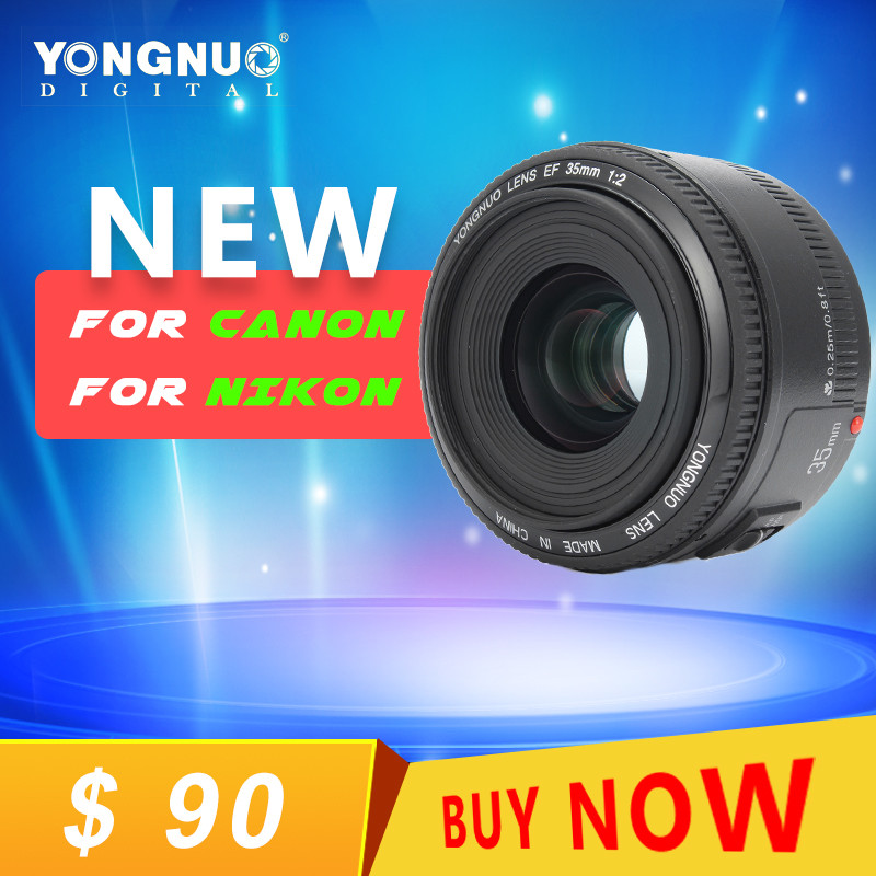YongNuo 35mm lens YN35mm F2 lens Wide-angle Large Aperture Fixed Auto for Focus Lens For canon For NIKON EF Mount EOS Camera yongnuo yn35mm af mf fixed focus camera lens f2n f2 0 wide angle f mount for nikon d7200d7100 d300 d5500 d500 dslr free lens bag
