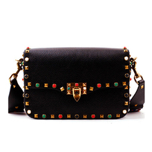 Vintage Colorful Rivet Women Genuine Leather Messenger Bag Handbag Crossbody Bolsos Women Brand Designers Shoulder Bags