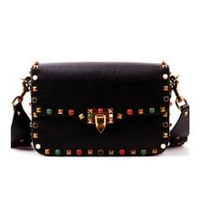 Vintage Colorful Rivet Women Genuine Leather Messenger Bag Handbag Crossbody Bolsos Women Brand Designers Shoulder Bags Girls