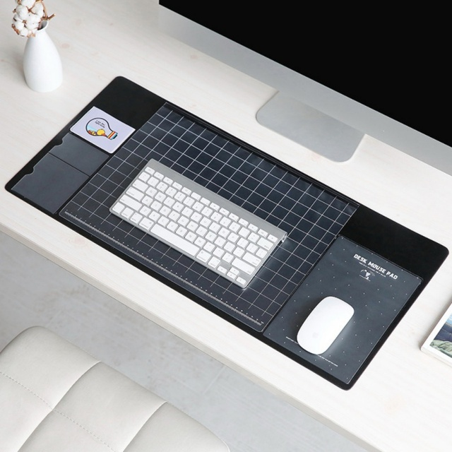 EDAL PVC Writing Pad All In One Useful Computer Laptop Mouse Pad With  Pocket Storage For