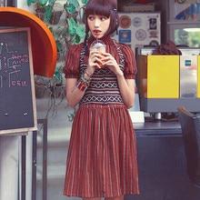 Aporia. As, весенне-летнее женское винтажное и ретро-платье с рукавами-фонариками, из двух частей, в полоску, плиссированное, хлопковое, льняное, короткое платье