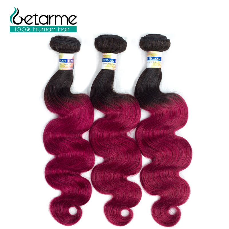 Ombre Brazilian Body Wave Dark Roots 3 Bundles 100% Human Hair Extensions Pre-Colored 1b ...