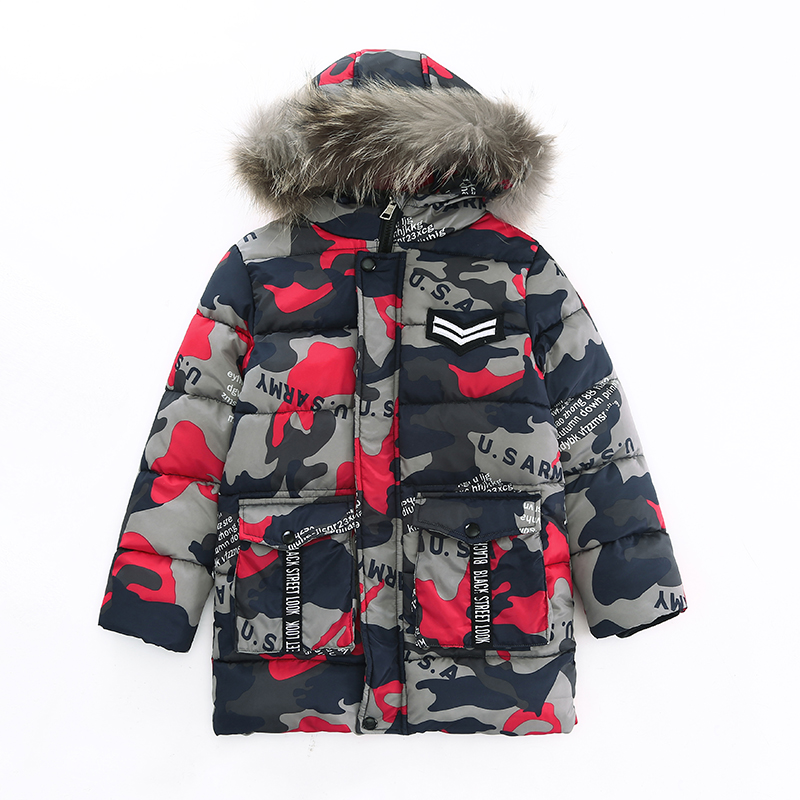 ФОТО The new boy's 2016 British wind down jacket camouflage with hood cotton-padded clothes with thick coat jacket