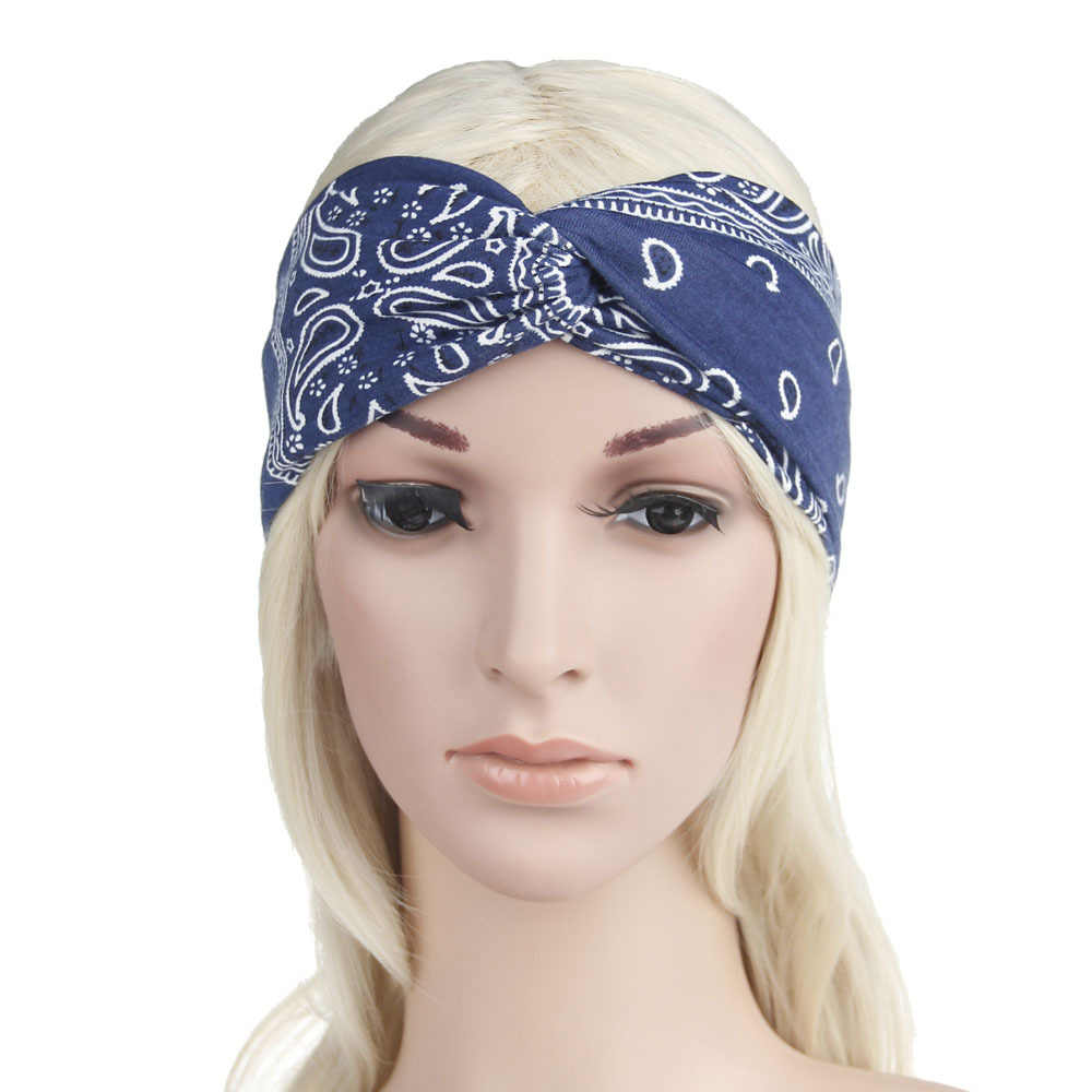 New 2019 Boho Women's Hair Band Turban Headband Rock Cool Girls Ethnic Print Elastic Headbands for Women Sporty Hair Accessories