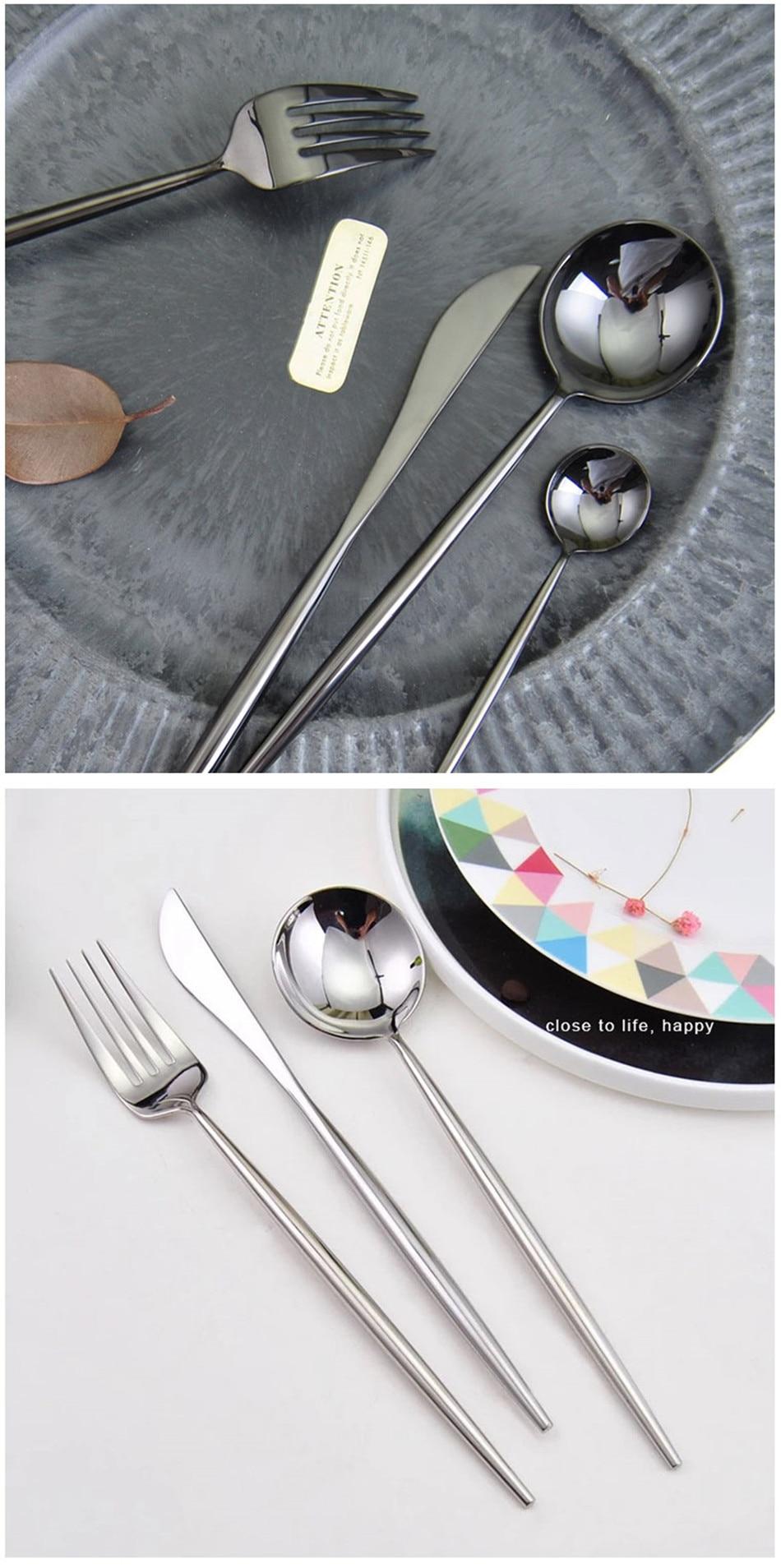 304 Stainless Steel Tableware Set Mirror Shining Rose Gold European Western Food Dinnerware Sets knife Forks Black Cutleries 4pc (7)