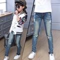 2016 outono nova crianças meninas jeans stretch pés calças de cintura Média calças skinny calça casual padrão de estrela