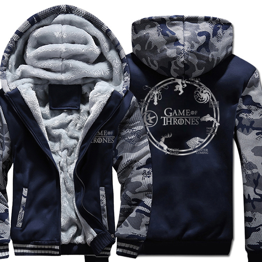 Game of Thrones Targaryen Fire & Blood Fashion Men's Sweatshirts Hooded 2019 Winter Warm Men Thicken Hoodies Casual Coat Jacket-in Hoodies & Sweatshirts from Men's Clothing    2