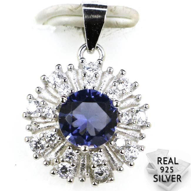 Guaranteed Real 925 Solid Sterling Silver 2.0g Ravishing Iolite, White CZ Woman's SheType Pendant 21x15mm