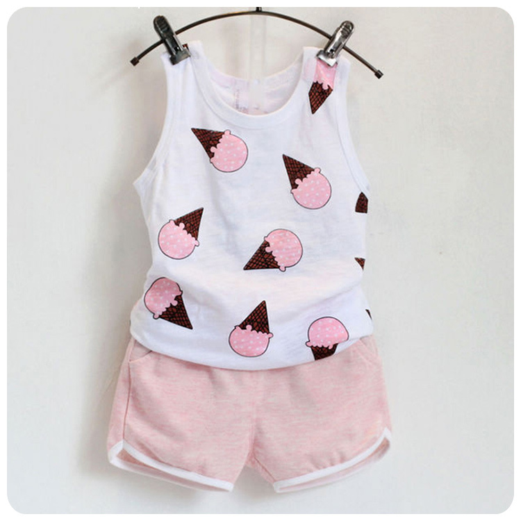 Summer Wear New Pattern Children's Garment Girl Lovely Cone Printing Vest Sleeveless T-Shirt Shorts Suit Twinset