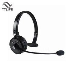 Ttlife sobre la cabeza de cancelación de ruido profundo bass stereo bluetooth wireless headset auriculares con micrófono flexible para teléfonos
