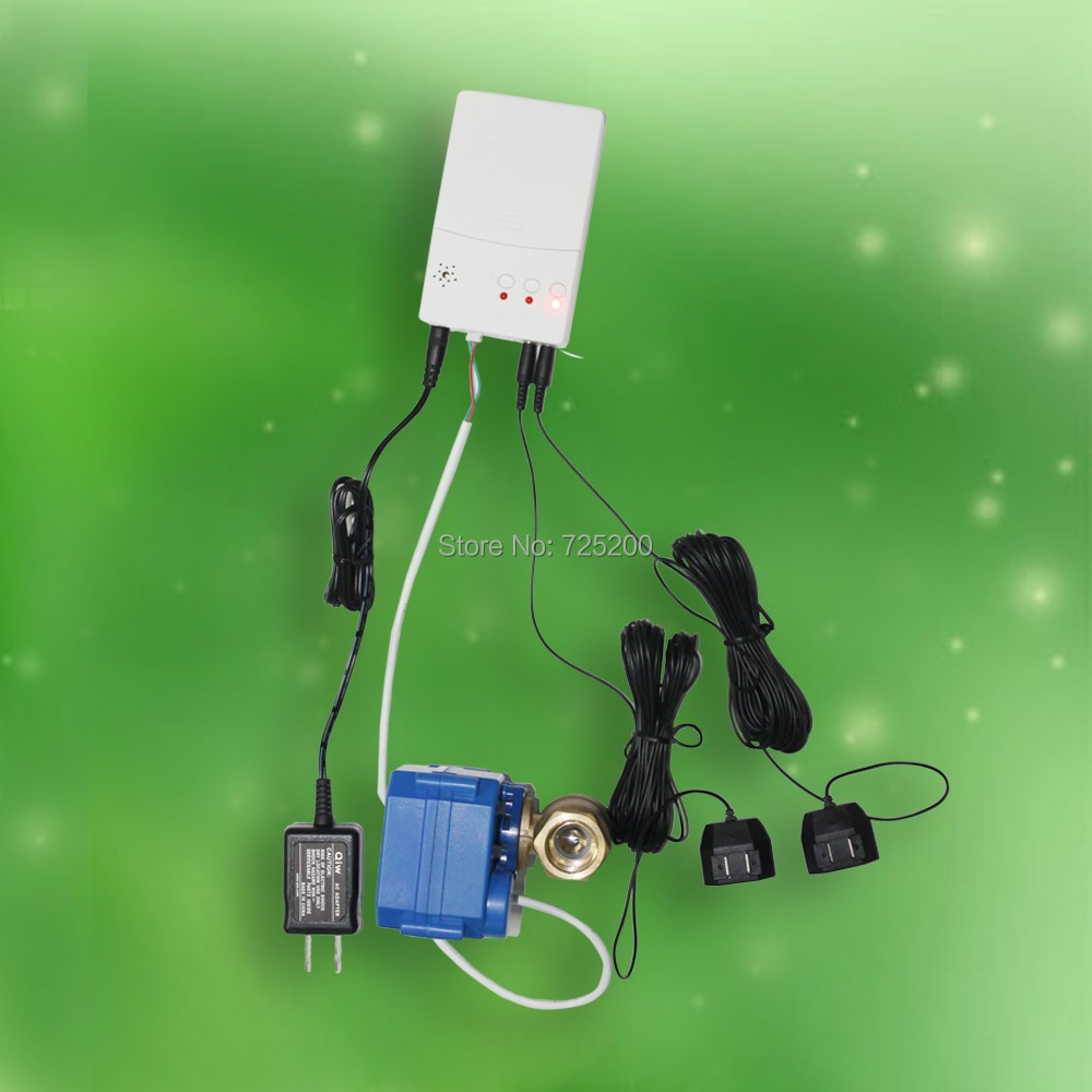 Waterpipe Water Leak Alarm Detector with 2pcs 1/2 Motorized Ball Valve and 2pcs 6m Sensor Wires, Free Shipping
