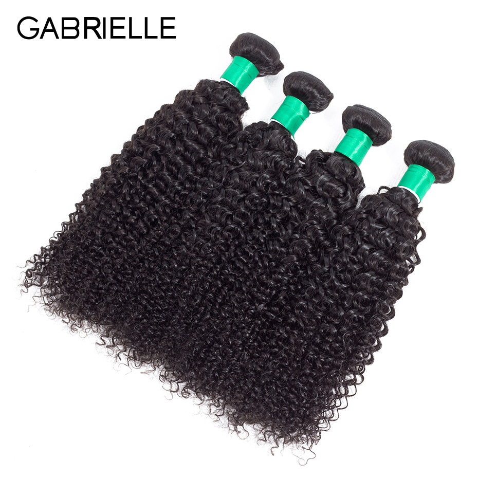 Gabrielle 4 Bundles Deal Hair Weaves Brazilian Kinky Curly Hair Bundles Natural Color 100% Non Remy Human Hair Extensions