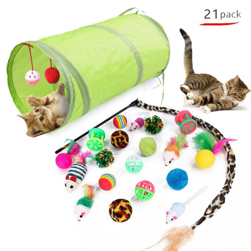 21 шт. интерактивные кошачьи игрушки для котят туннель шары палочка-Дразнилка с перьями Когтеточка