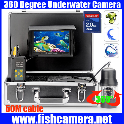 50m 360 rotation dvr ice fishing camera underwate video for Ice fishing cameras