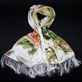 100% Silk Scarf Women Scarf Peony & Butterfly Pashmina Long Silk Shawl 2017 Designer Scarf Print Female Shawl Luxury Women Gift