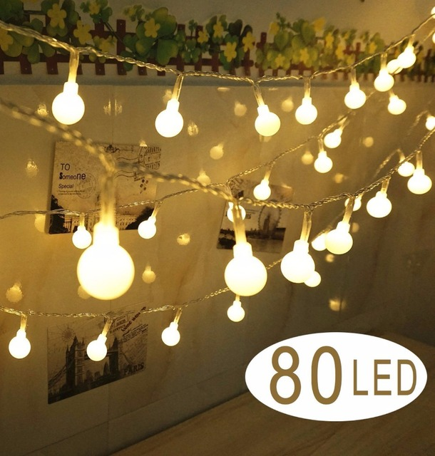 Globe string lights usb powered long led ball fairy lights for globe string lights usb powered long led ball fairy lights for indoor outdoor garden christmas mozeypictures Images