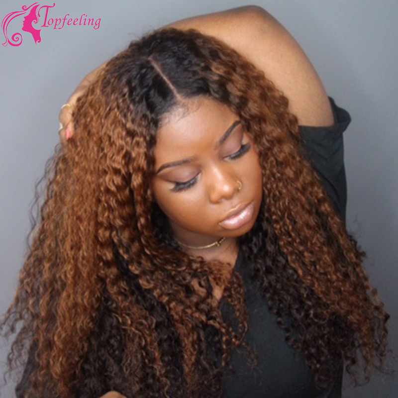 Brazilian Curly Weave Human Hair Full Lace Wig 1b 30