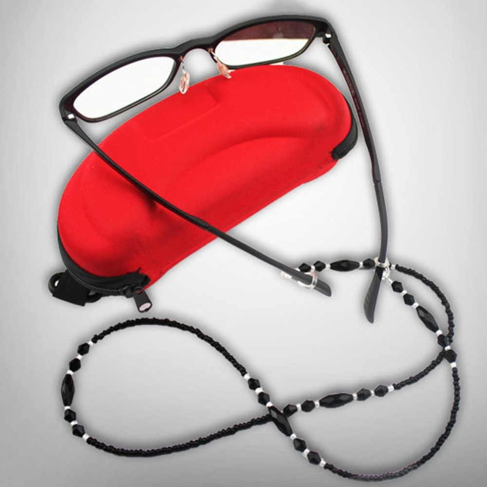 ファッション眼鏡チェーンロープ黒アクリルビーズチェーン抗スリップ目摩耗コードホルダーネックストラップ老眼鏡ロープ A28
