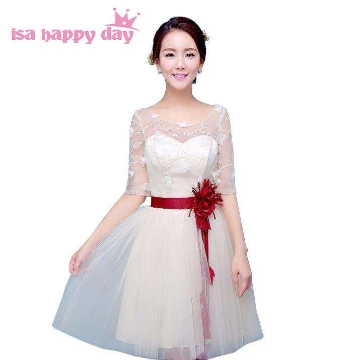 Champagne Lace Short Dress: Vestido Festa Bride Champagne Sweet 16 Tulle Dress Short