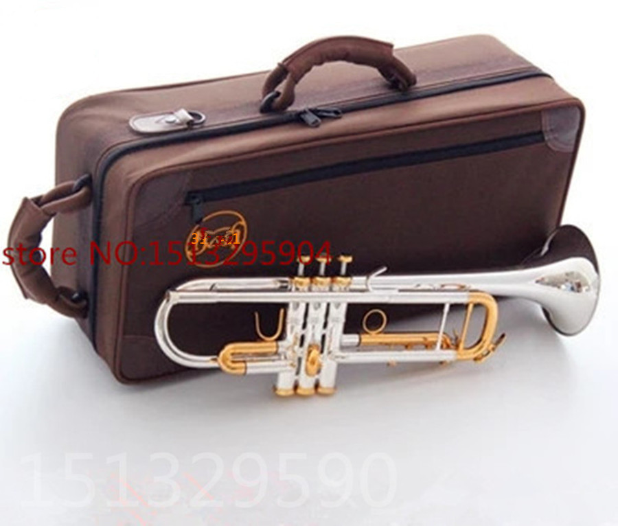 trumpet Silver-plated body gold key LT180S-72 B flat professional trumpet bell Top musical instruments Brass horn professional new silver plated trumpet bb keys with monel valves horn case