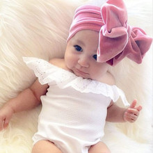 Yundfly Velvet Children Kids Headbands Newborn Turban Bow Knot Head Wrap Hair Accessories Birthday Gift