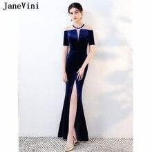 9d1923203125a JaneVini Vintage kadife boncuklu anne gelin elbise Mermaid kısa kollu Sheer  geri kraliyet mavi örgün uzun abiye giyim