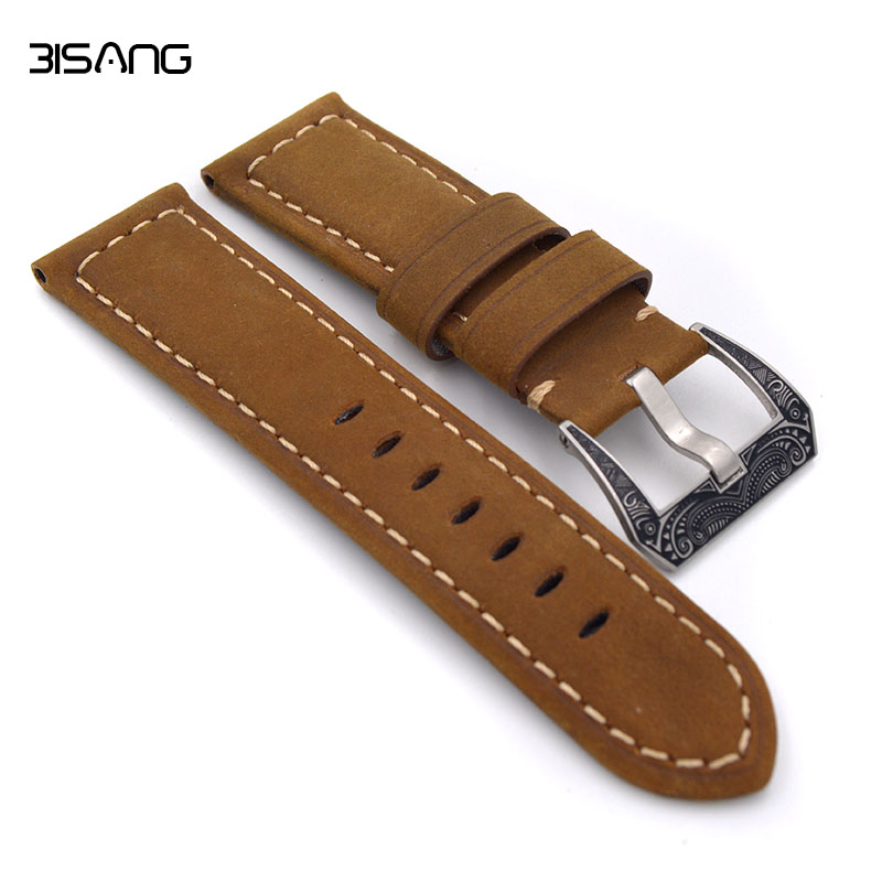 Handmade Strap Men Brown Leather High Quality Genuine Leather Watchband Watch Strap 24mm 26mm For panerai natural cork watch strap brown cork with pu leather handmade vegan high quality e 001