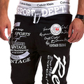 IMC drawstring elastic waist letter printing Black + Grey loose man  pants 4XL