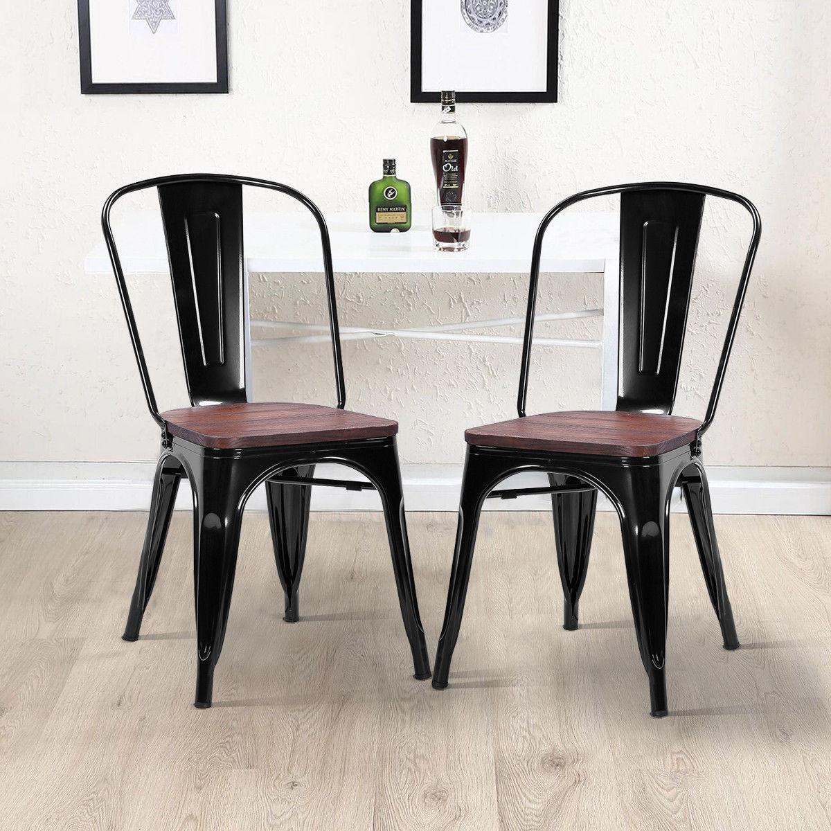 Giantex 2 шт. обеденный стул СОВРЕМЕННЫЕ СТЕКИРУЕМЫЕ бистро металлический деревянный табурет для отдыха дома Кухня мебель hw56682bk