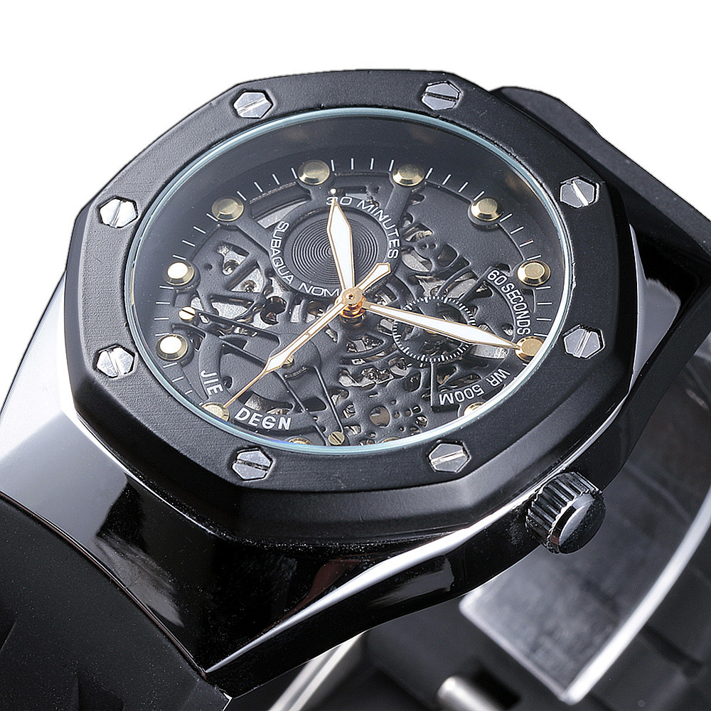 JIEDENG Watches Men Luxury Brand Sports Casual Military Clock Wristwatches Automatic Wind Mechanical Skeleton Watch Rubber Strap famous brand fngeen role luxury mechanical watch men sport automatic watches self wind nylon strap wristwatch male clock sports