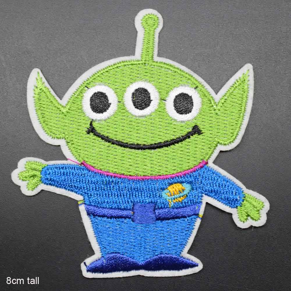Green Three Eye Monster Cartoon Iron On Embroidered Clothes Patches For Clothing Stickers Garment Wholesale