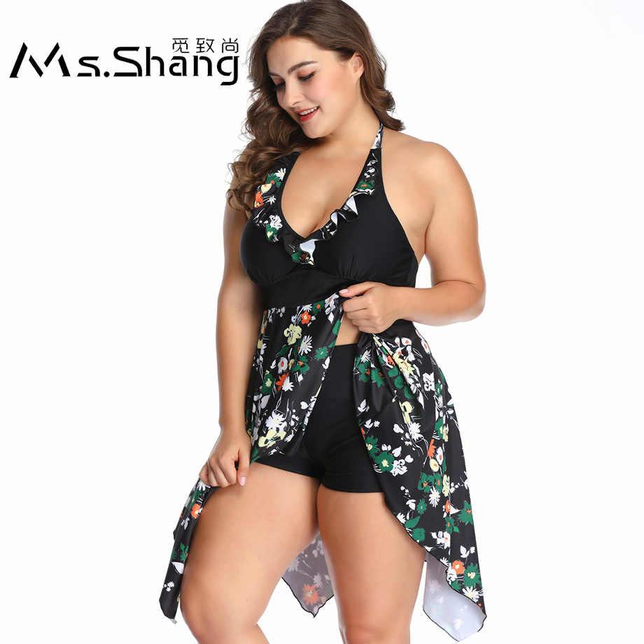 c1d5dde287ead Ms.Shang 2019 Floral Plus Size Swimwear Push Up Women Swimsuit Halter Top  Swimdress with