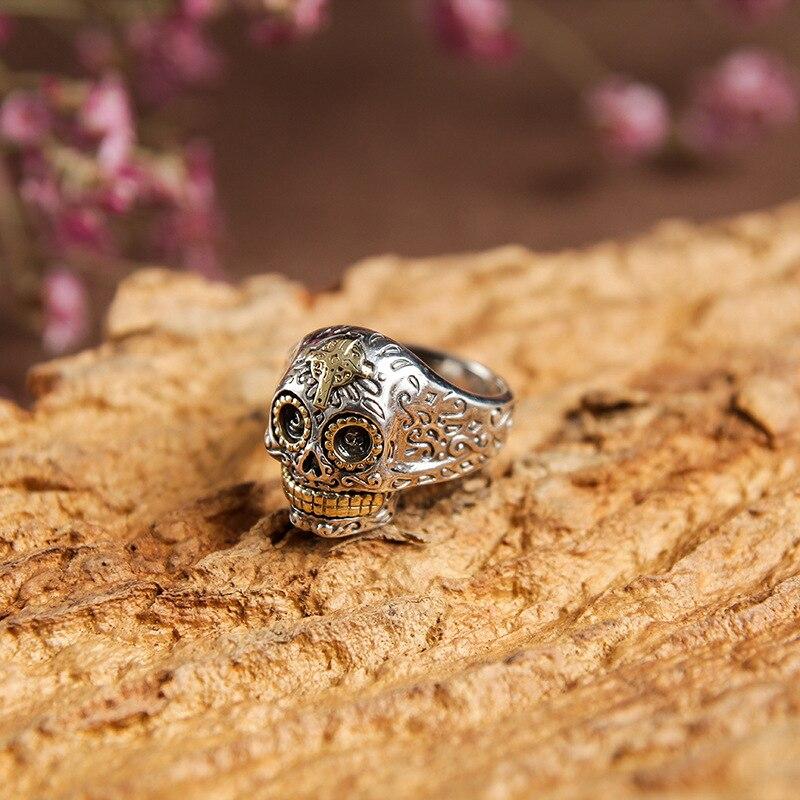 Argent massif 925 croix sucre crâne anneaux de manchette pour hommes fabriqués à la main en argent Sterling 925 bijoux pour hommes Style gothique Hip Hop Rock