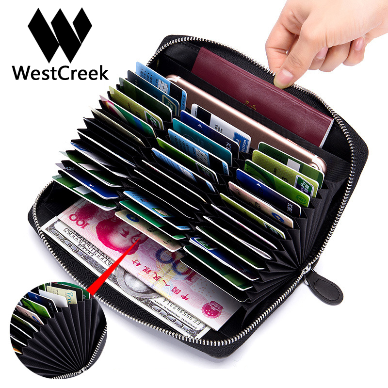 Westcreek Brand Vintage Leather RFID Men Long Wallets Fashion Women Zipper Organizer Wallets Card Holder Travel Passport Purse westcreek brand men women genuine leather rfid zipper credit card holder passport travel wallet coin purse business cards holder