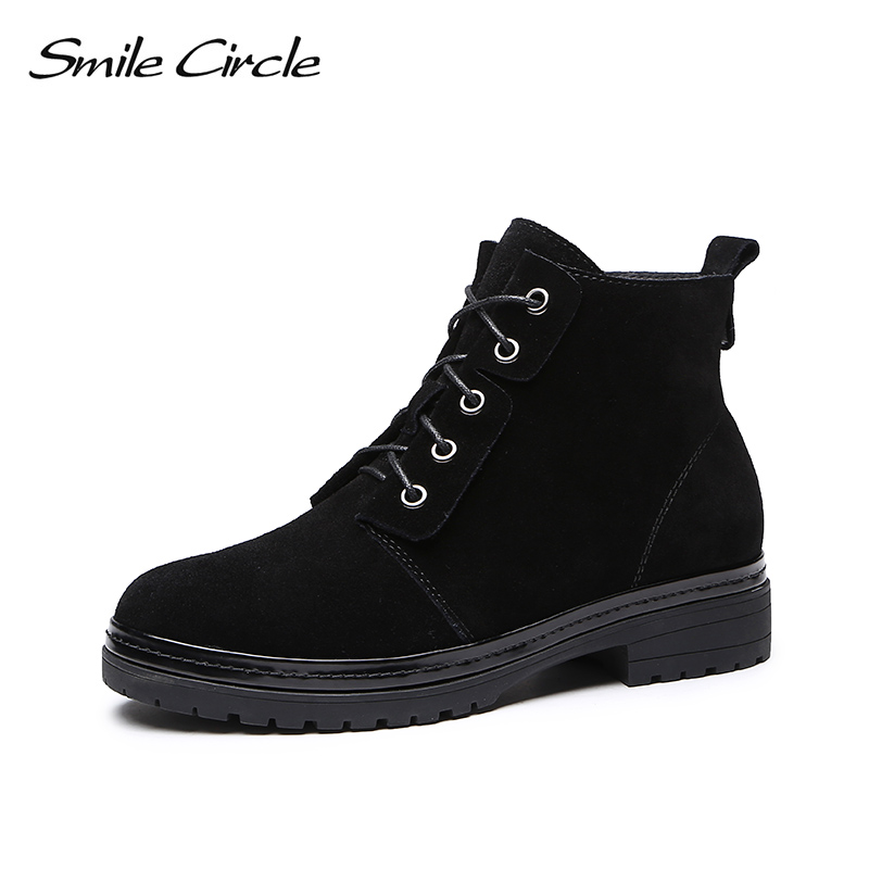 Smile Circle Winter Warm plush Short Boots Women Suede Leather Lace-up Ankle Boots Round toe Womens Shoes High-quality black Smile Circle Winter Warm plush Short Boots Women Suede Leather Lace-up Ankle Boots Round toe Womens Shoes High-quality black
