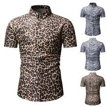 c5354c8e New Arrivals Slim Fit Male Shirt Men's Fashion Short Sleeve Stripe Leopard  Print Large