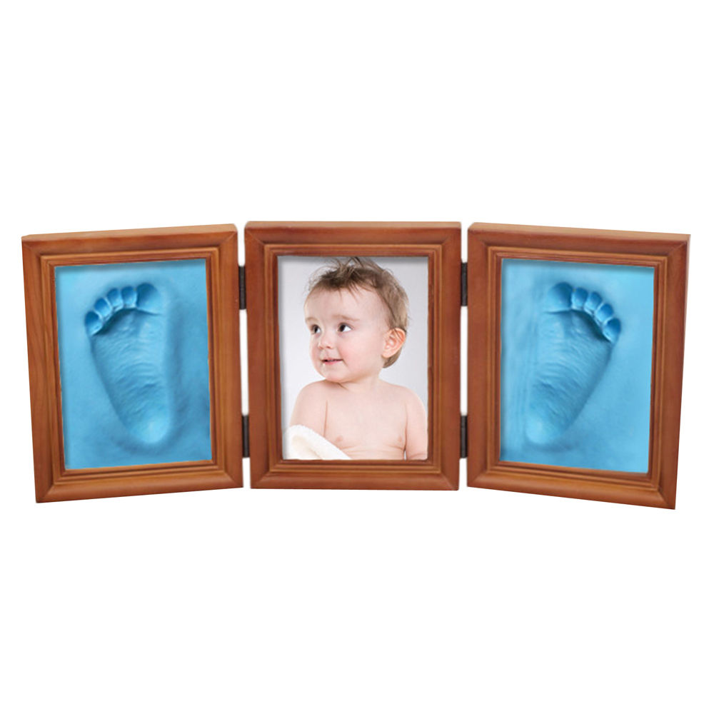 baby handprint footprint kit newborn baby photo album personalized footprint decorations box an88 New Cute 3D DIY Baby Photo Frame Handprint Footprint Soft Clay Toy Triple Solid Wood Photo Brown Frame Ceremony Gift for Baby