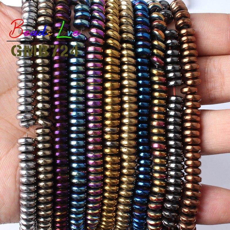 6x2mm Natürliche Stein Big Loch Multicolor Rondelle Spacer Hämatit Runde Perlen Für Schmuck, Die DIY Halskette Armband 15 zoll