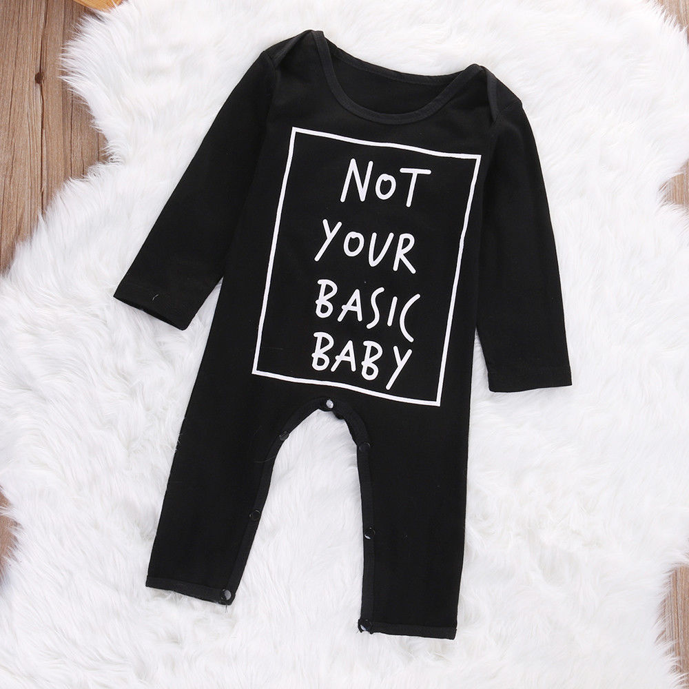 51849870f36f6 Newborn Baby Cotton Long Sleeve Jumpsuit Black Baby Boy Girl Clothing  Outfits Funny Infant Boys Girls Clothes Romper Children-in Rompers from  Mother   Kids ...