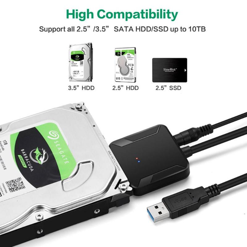 USB 3.0 to Connect SATA 2.5/'/' 3.5/'/' Hard Drive SSD Adapter Cable for PC Laptop